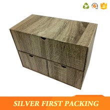 High quality wood grain paper cardboard drawer box storage paper box