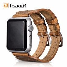 Apple iWatch için ICARER Hakiki At Deri Watch Band