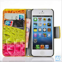 Colorful Young Style Magnet Buckle Wallet Leather Flip Case for iPhone 5C Leather Case P-IPH5CCASE043