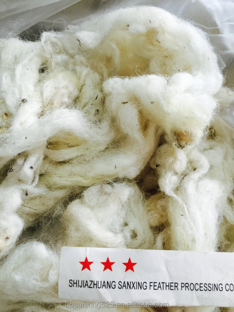 Russian scoured sheep wool, 23-25mic&55-70mm, raw white color