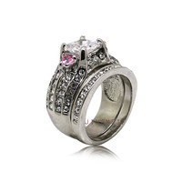 Fashion wedding couple ring sets ,white gold wedding ring with clear & pink cubic zirconia R7533
