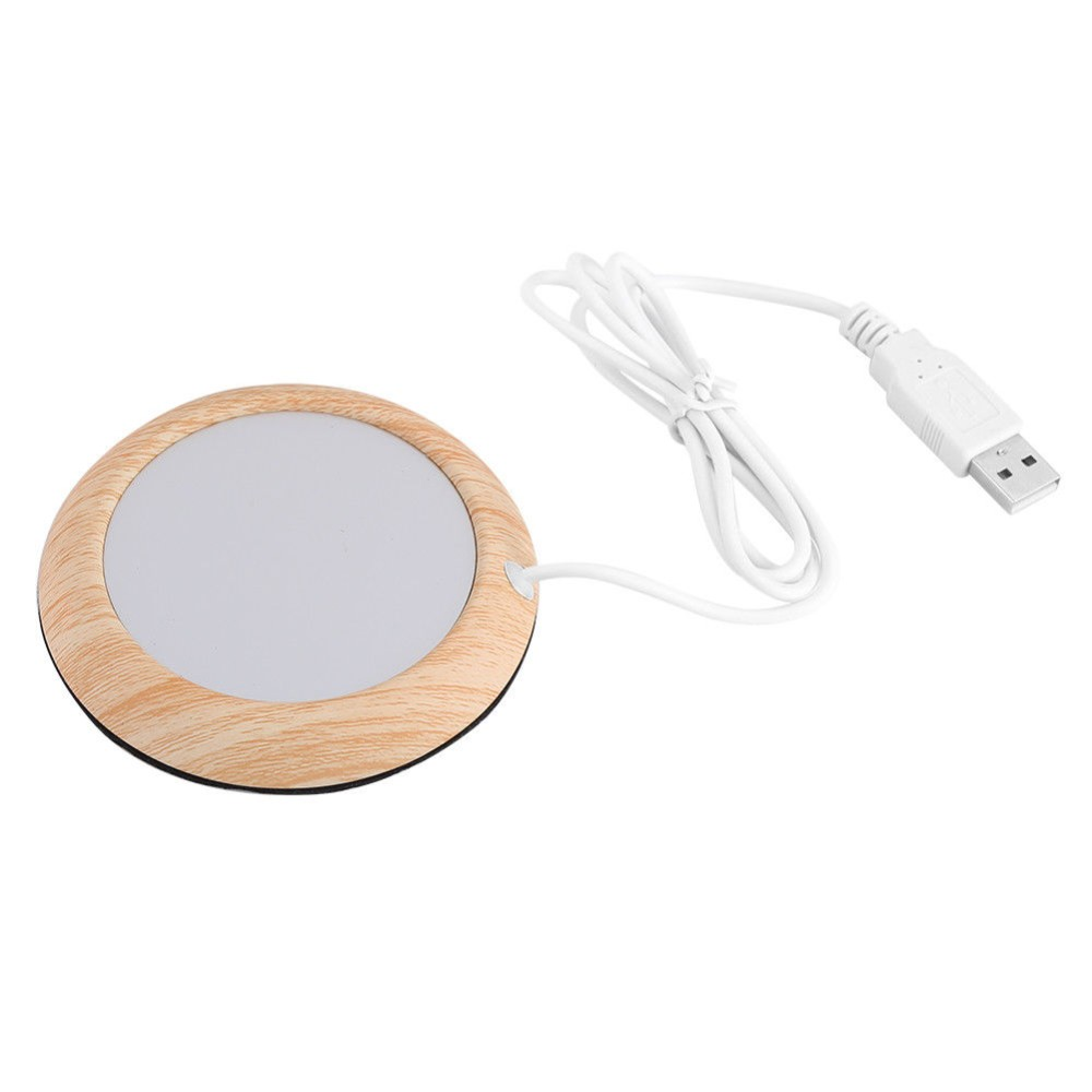 Portable Cup Mug Warmer Heating Pad, Cup Heater, Cup Water/Beverage/Coffee/Milk USB Electric Wood <strong>Grain</strong> Warmer Pad