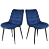 Free shipping Restaurant Home Furniture Modern blue Velvet Fabric Metal Lounge Room Dining Chair Set of 2