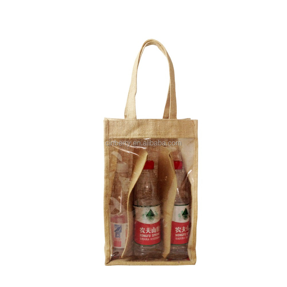 Jute wine bag with clear PVC window Handmade Jute Bags