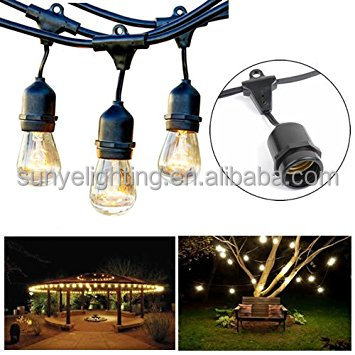 48ft 15 Sockets Commercial Outdoor LED String Lights -Vintage Patio Garden Globe String Light for Deco or Christmas Party