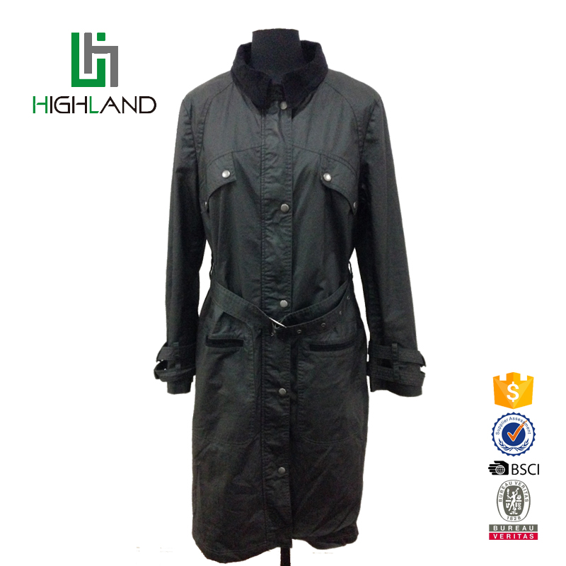 Latest style 100% cotton comfortable long women trench coat with high corduroy collar belt custom design