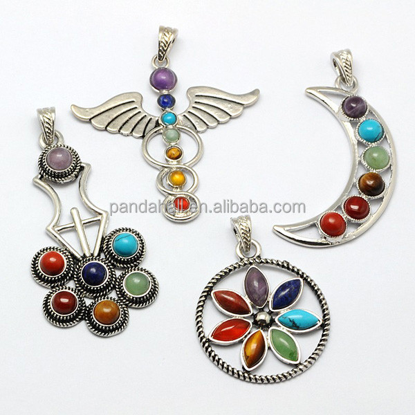 Mix Shaped Healing Yoga Jewelry Bezel Gemstone <strong>Pendant</strong> Wholesale Chakra <strong>Pendant</strong>(G-M039-M)