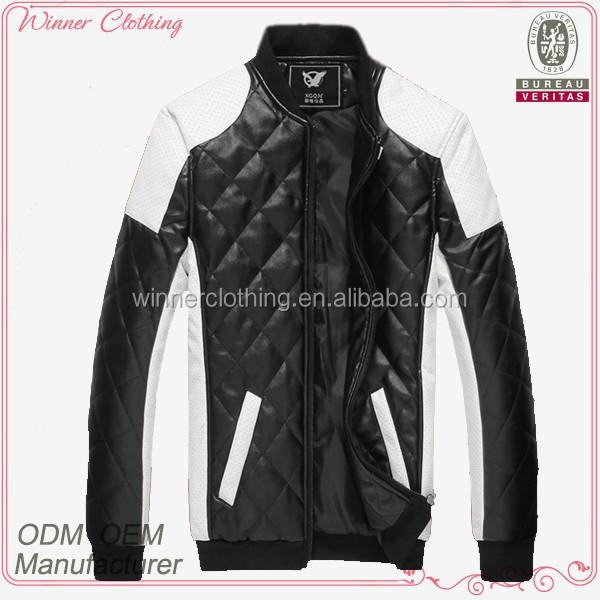 low price wholesales black and white winter waist coat for men with long sleeve men's leather coat