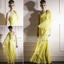 Coniefox 2012 One-Shoulder Yellow Bridesmaid Dress 80869
