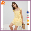 custom made yellow casual short cut work mini dress
