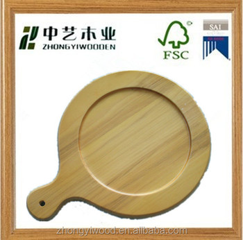 hot selling round cheap custom small unfinished handmade wood pizza trays ,wooden servicing tray