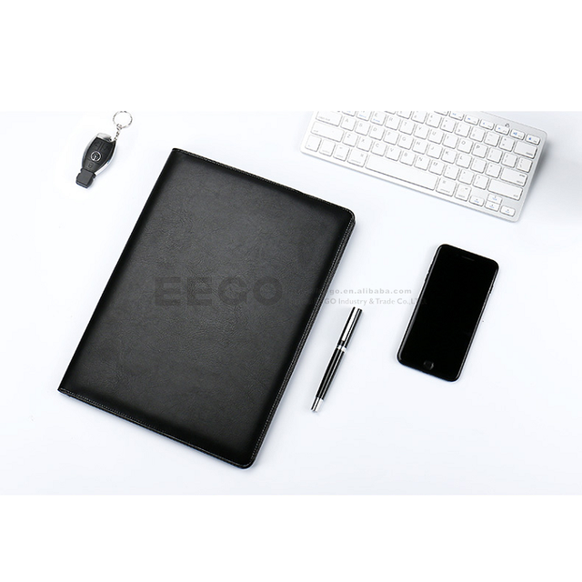 organiser diary pu leather 2018 diary with calculator and pen, portfolio document organizer, notebook with hole for pen