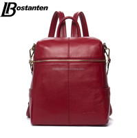 large top grain genuine leather women designer backpack notebook bag zipper