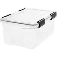 Weathertight Storage Box, 19 Quart - Clear stackable plastic storage bins