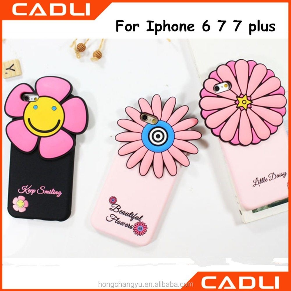 Girls Cute Flower 3D Soft Silicone Phone Case for Iphone 5 6 7