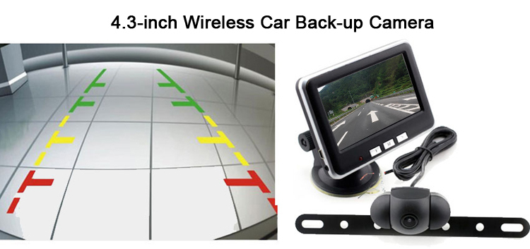 wireless rear view car camera with 4.3 inch TFT LCD monitor