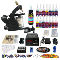 LCD Power supply 14 colors 5 ml tattoo inks tattoo kit