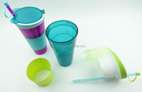 Promotional Gift Plastic Drink Cup Snack Cup Kids Drinking Cups With Straw