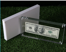 Wholesale Acrylic Money Currency Holder Display Case For 100 Note Bank Pack