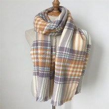 best-selling 100% acrylic check woven scarf shawl