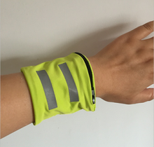 Reflective Sports Wristband With Zipper Pocket