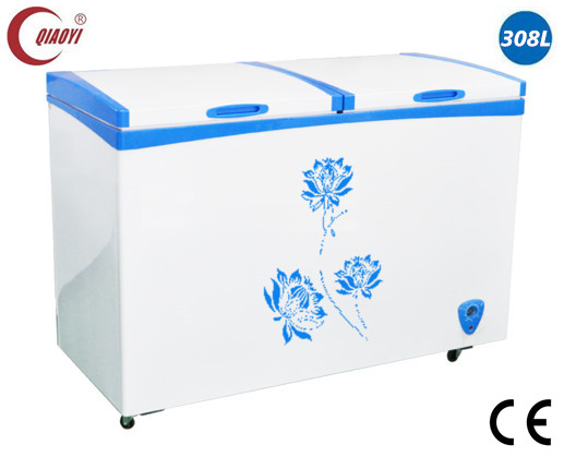 2016 chest deep freezer with double solid door inner sliding glass cover 308L