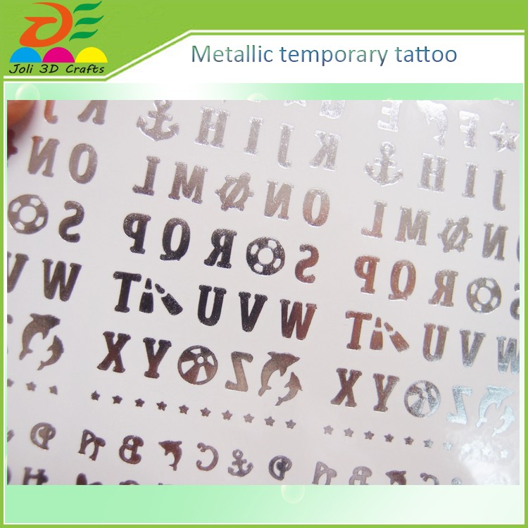 Temporary Tattoos Metallic Gold & Silver Jewelry for Face and Body