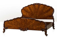 Royal Antique Carved Shell Shape Bed in Victorian Style, Luxury Elegant English Style Fine Furniture BF11-12302a