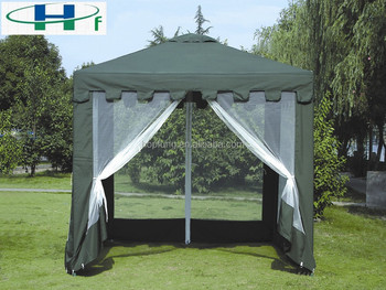 3x3m green polyester gazebo with mosquito net