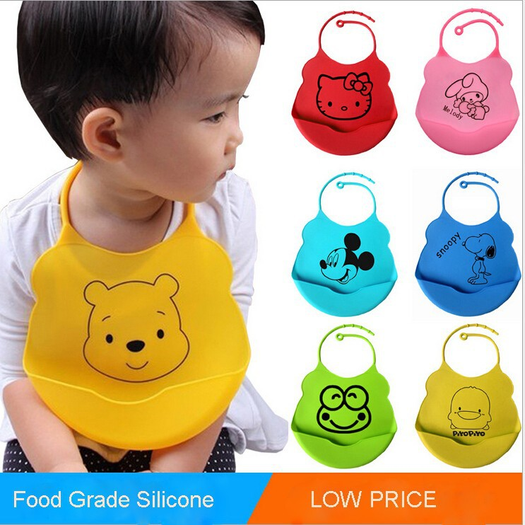 Low Price Washable Silicone Best Baby Bib with Crumb Food Catcher for Infant Baby Snaps Style