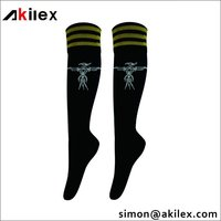 New design cotton and nylon custom logo soccer socks