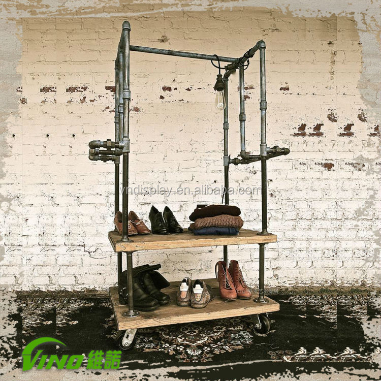 Rust Metal Iron Display Rack For Garment Shop , wooden stand
