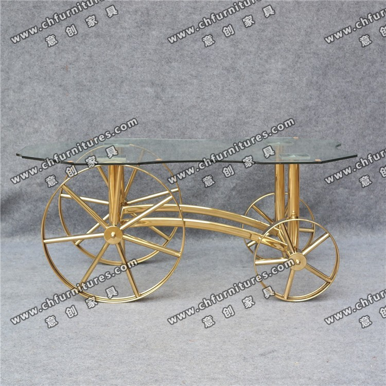 New style glass top table and cycle leg stainless steel coffee table with YC-ST05