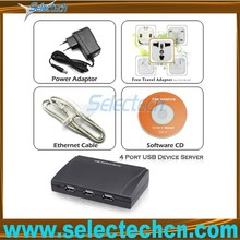 Protable 1000M/100M/10M 4 port printer networking usb 2.0 server SE-SK-304U
