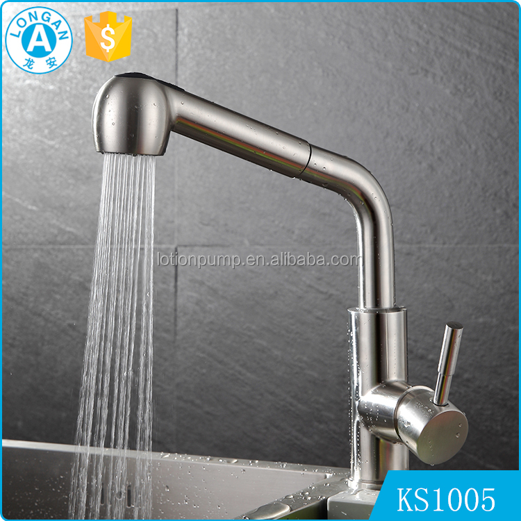 OEM&ODM deck mounted Single Handle Brushed pull out modern kitchen faucets stainless steel