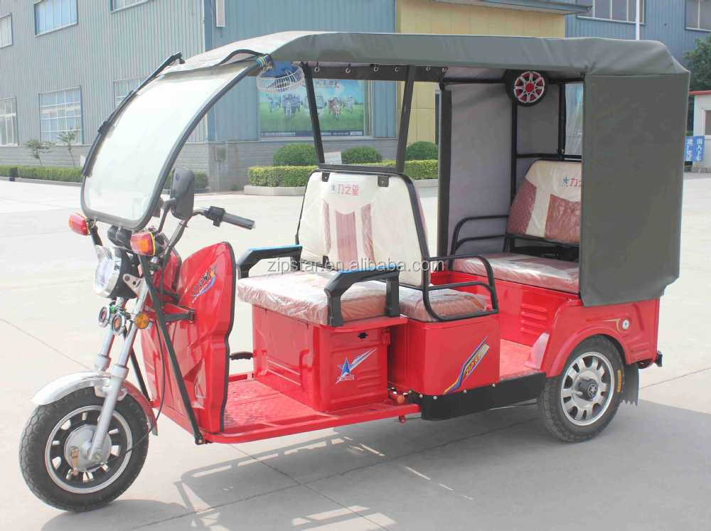 48V1000W Electric Passenger Rickshaw / Battery Tricycle with Sun Cover