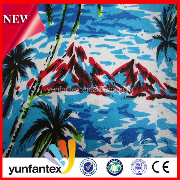 2016 sky blue Hawaii style woven cotton printed fabric for shirt