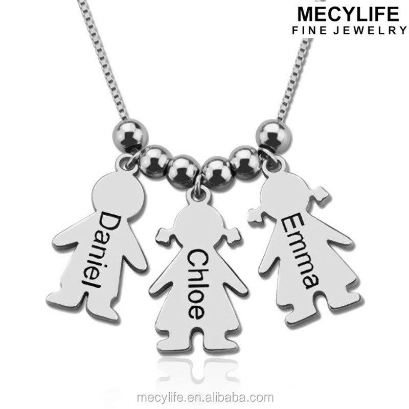 MECYLIFE Stainless Steel Girl And Boy Charms Jewelry Kids Necklace