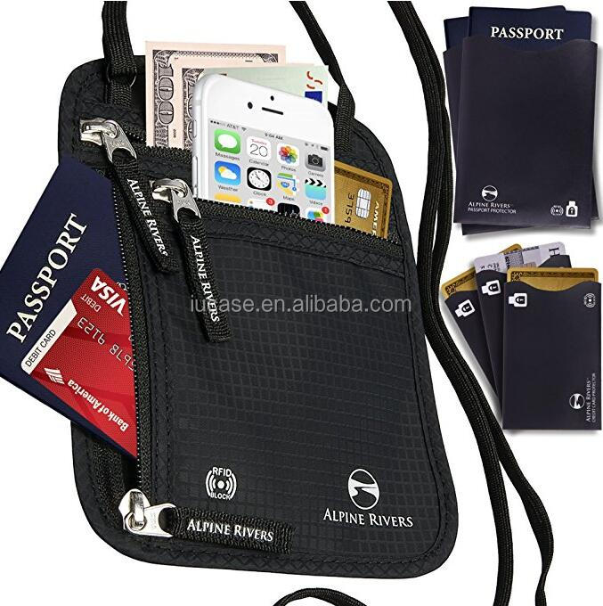 Waterproof Concealed Zipper Document Organizer Travel Passport Wallet w/ RFID Blocking