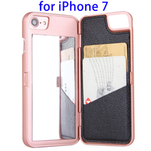 New Arrival Oil Coated Folding Mirror Wallet Hard Case for iPhone 7 with Card Slots, For iPhone7 Case