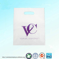 customized white die cut plastic carry bags/white plastic die cut handle carry bags/designer shopping plastic bags with logo