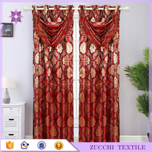 Polyester Jacquard Curtain With Luxury Valance Room Drapery