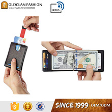Genuine Leather Minimalist Front Pocket Metal Money Clip Wallet Slim For Men