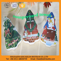 50g holiday promotion christmas gift 100% cotton compressed magic towel