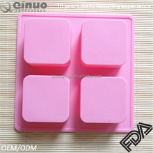 Hot sale silicone mould 4 cavities ice cube container mold square soap mold