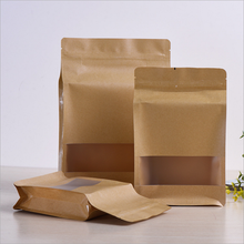 food grade quad seal brown kraft paper bag for food packaging,with window