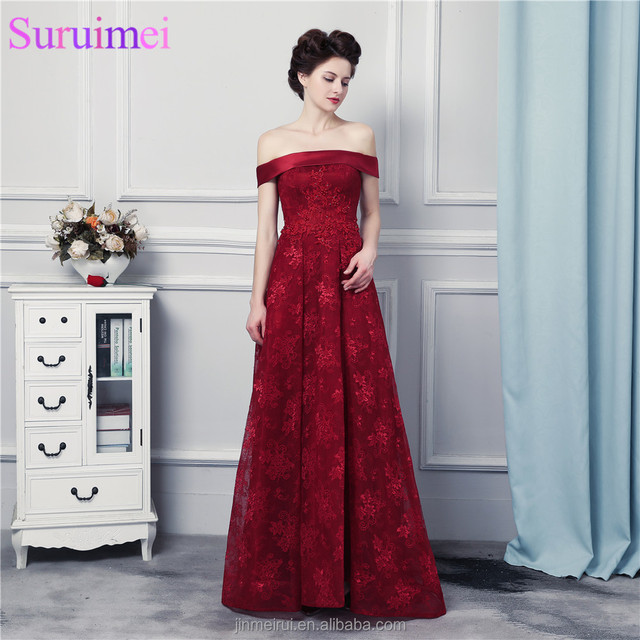 High Quality Lace Evening Gown Corset Lace Up Wine Red Lace Burgundy Prom Dresses Off Shoulder Formal Women Dresses Vestidos De