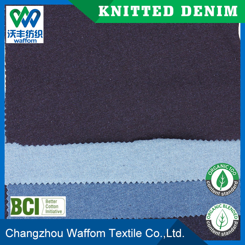 wholesale 100%cotton indigo jersey knit denim fabric for shirt