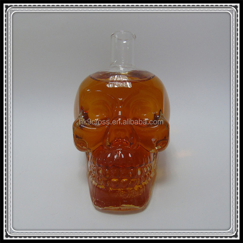 1000ml skull head glass wine <strong>bottle</strong> with stopper for vodka