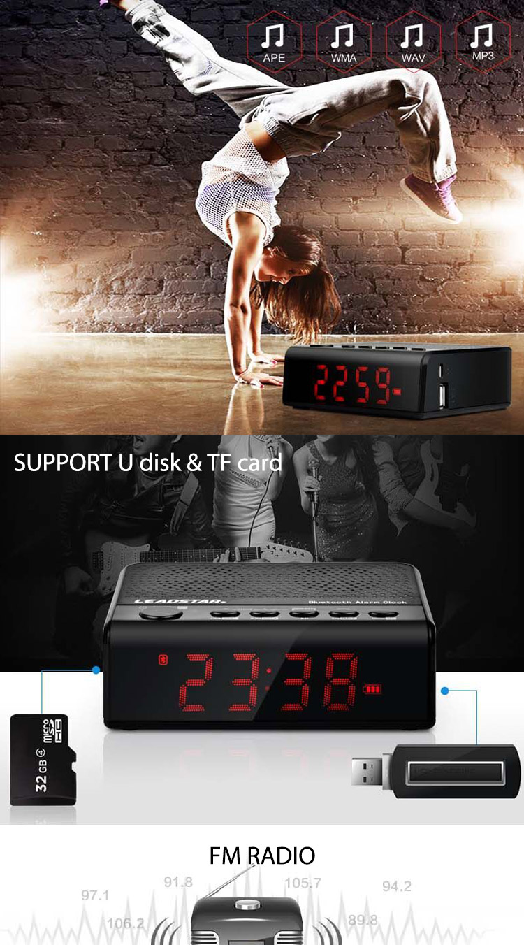 hot selling V2.1+EDR Wireless standard analog alarm clock no ticking